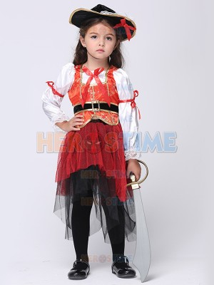 Pirate Girl's Fancy Dress Halloween Costume Kids Pirate Outfit