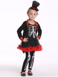 Skull Pirate Kids Fancy Dress Halloween Movie Girls Fancy Costume