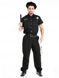 Adults Men Police Cosplay Costume Male Halloween Costume