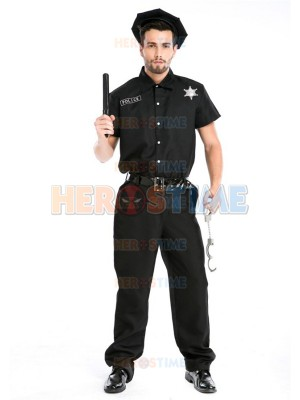 Adults Men Police Cosplay Costume Male Halloween Costume
