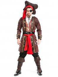 Deluxe Pirates of the Caribbean Jack Sparrow Costume Cosplay Set