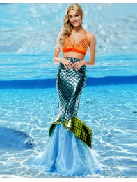 Adult Mermaid Two Piece Fancy Dresse Women Halloween Costume