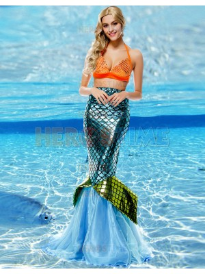 Adult Mermaid Two Piece Fancy Dresse Women Halloween Costume