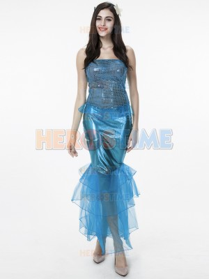 Blue Sleeveless Sexy Shiny Halloween Fancy Dress