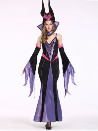 Gothic Womens Witch Costume Halloween Ladies Fancy Dress