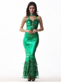 Green Backless Halter One-piece Mermaid Halloween Cosplay Costume