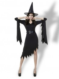Halloween Costume Black One-piece Knee-length Witch Costume