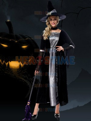 Halloween Costumes Black And Grey Long Witch Dress