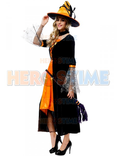 Halloween Costumes Black And Orange Long Witch Dress