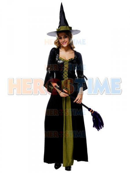 halloween costumes black and green witch dress