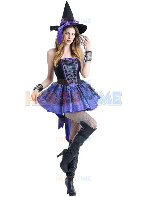 Halloween Witch Costume Purple Swallow-Tailed Witch Suit