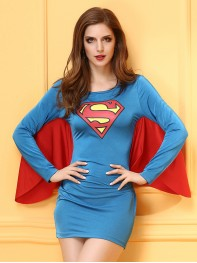 Ladies Cosplay Superman Womens Halloween Fancy Dress