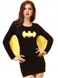 Lady Cosplay Batgirl Short Mini Dress Women Halloween   Costume