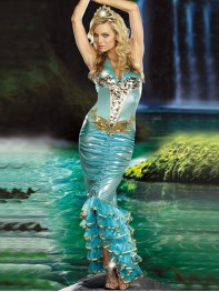 Mermaid Sequin Blue Under Sea Siren Fancy Dress Halloween Costume