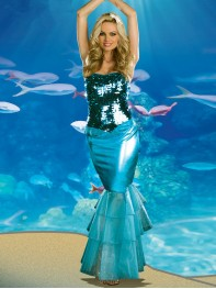 Newest Sexy One Piece Mermaid Long Halloween Fancy Dress Costume