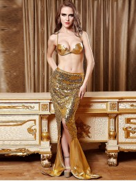 Sexy Gold Mermaid Costume Ariel Adult Womens Fancy Costume