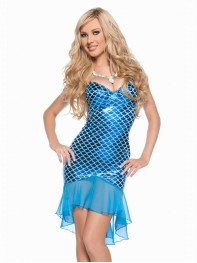 Sexy Sleeveless One-piece Blue Halloween Fancy Dress