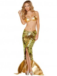 Shiny Gold Two Piece Mermaid Sequined Fancy Dress Halloween Costume