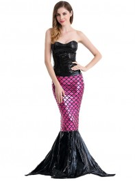 Super Cool Black Mermaid Backless Halloween Fancy Costume