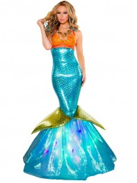 Womens Fantasy Backless Mermaid Halloween Costume