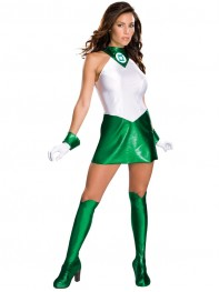 Green Lantern Shiny Metallic Dress Style Superhero Costume