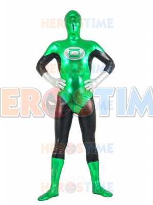 Fullbody Green Lantern Shiny Metallic Superhero Costume