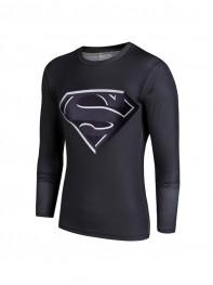 Black Superman Superhero Quick Dry 3D Patterns Tee Sportswear