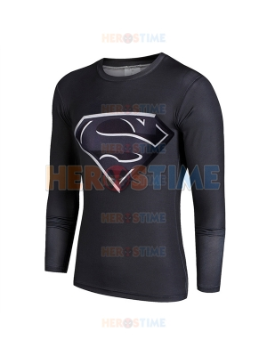 Black Superman Superhero Quick Dry 3D Patterns Tee Sportswear