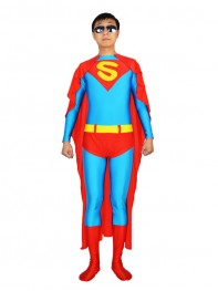 Blue & Red Superman Spandex Superhero Costume