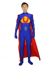 Male Superhero Strong Superman Style Blue Costume