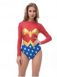 Wonder Woman DC Comics Superhero Long Sleeves One-Piece Swimsuit Beachwear
