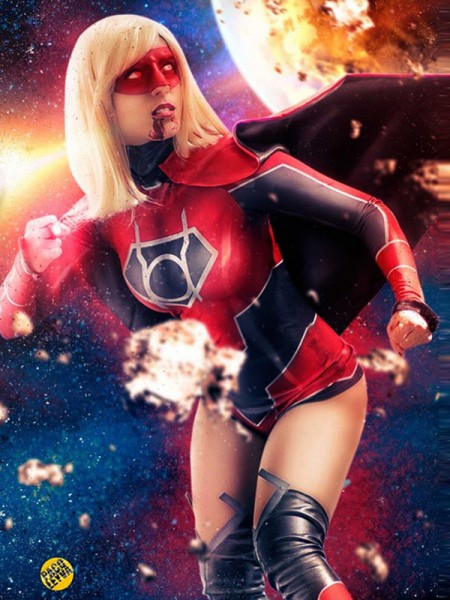 Red Lantern Supergirl DyeSub Printing Cosplay Costume