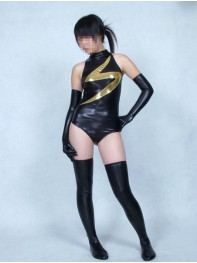 Black Ms. Marvel Shiny Metallic Superhero Costume