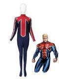 Blue & Red Captain Britain Spandex Superhero Costume