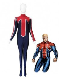 Blue & Red Captain Britain Spandex Superhero Costume