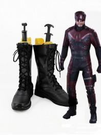 Daredevil Black Superhero Mens Superhero Cosplay Boots
