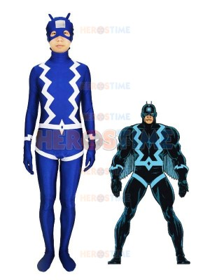 The Black Bolt Blue Spandex Superhero Costume