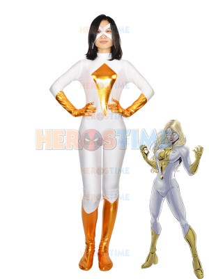 Moonstone White & Gold Spandex Superhero Costume