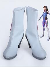 Overwatch D.Va Custom White High Heels Cosplay Costume