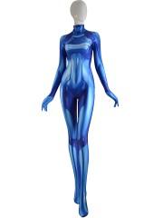 Samus Zero Costume Blue Color 3D Printed Girl Cosplay Suit