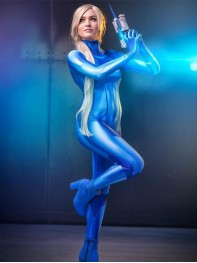 Samus Zero Costume Blue Color 3D Printed Girl Cosplay Suit