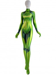 Samus Zero Costume Green Color 3D Printed Girl Cosplay Suit