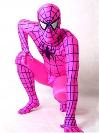 Fushia & Black Stripes Spiderman Spandex Superhero Costume