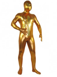 Golden Spiderman Shiny Metallic Superhero Costume