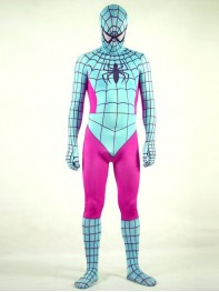 Light Blue & Fushia Spiderman Spandex Superhero Costume
