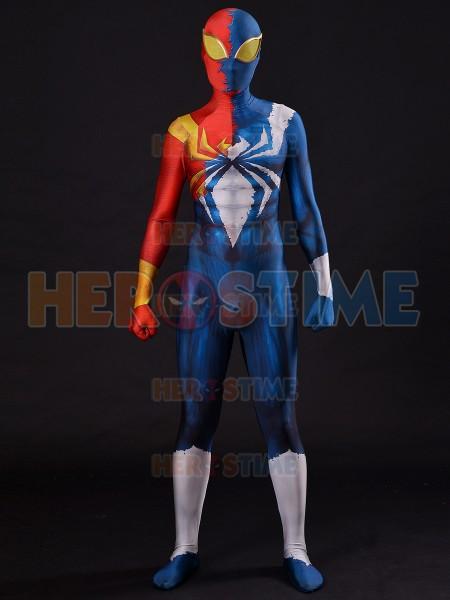 Half Symbiote Iron-Spider Costume 3D Designed Spider-man Cosplay Suit