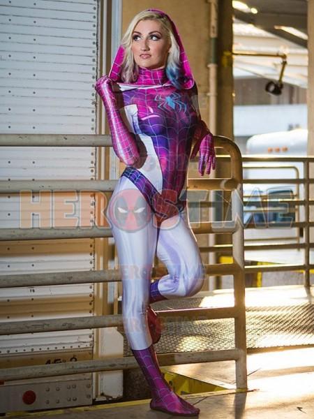 Spider Gwen Stacy Shiny Version Cosplay Superhero Costume No Mask