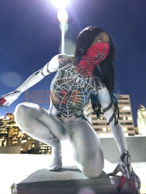 Silk Costume Symbiote Silk Printed Costume With Half Mask