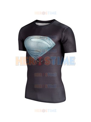 Black Superman Logo Short Sleeve Dry Quick Shirt