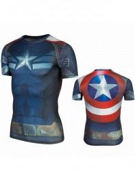 Captain America 2 Superhero Short Sleeve Cycling T-shirt